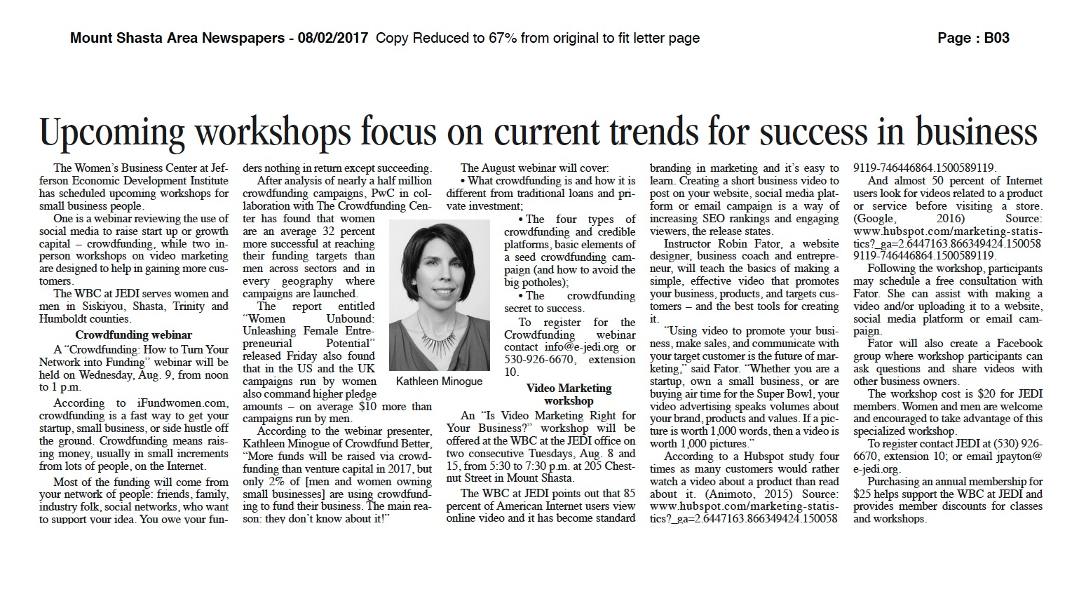 upcoming workshops focus on current trends for success in business